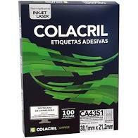 Etiqueta Colacril Ca4351 65 por Folha 38,1mmx21,2mm com 100 folhas