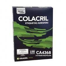 Etiqueta Colacril Ca4368 2 por Folha 143,4mmx199,9mm com 100