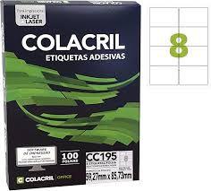 Etiqueta Colacril Cc195 8 por Folha 59,27mmx85,23mm com 100