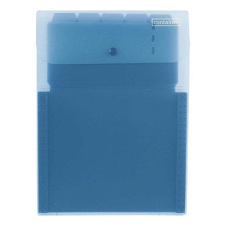 Pasta Sanfonada Vertical Dermiwil Container 5 Divisórias Azul