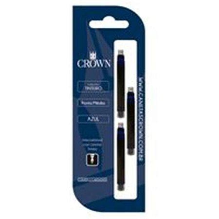 Carga de Caneta Crown Tinteiro Azul com 3 unidades
