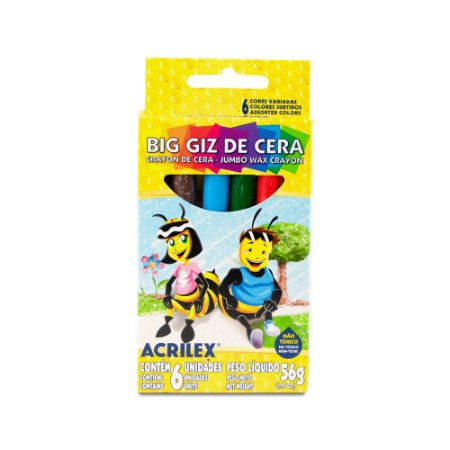 Giz De Cera Acrilex com 6 Unidades