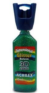 Dimensional Glitter Acrilex Verde 35Ml