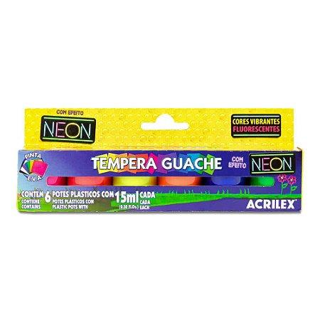 Guache Acrilex com 6 Unidades 15ML Neon