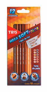 Lápis de Cor Tris Tons De Pele 12 Unidades