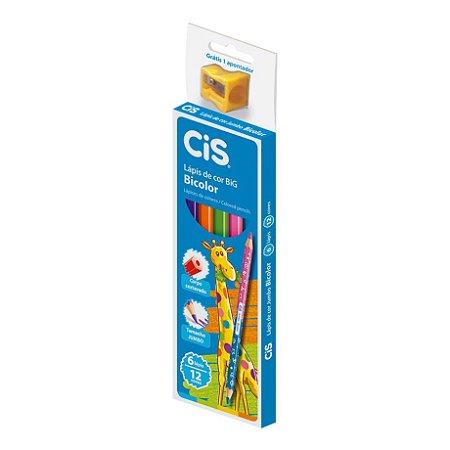Lápis de Cor Cis Jumbo Bicolor com 12 Unidades + Apontador