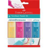 Kit Marca Texto Faber Castell Tons Pastel com 4 cores