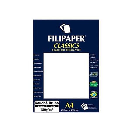Papel A4 180G Filipaper Couche Branco com 50Fls