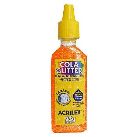 Cola com Glitter Acrilex Laranja 23G