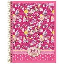 Caderno Tilibra 1X1 Jolie Classic Floral Rosa Espiral 96 fls