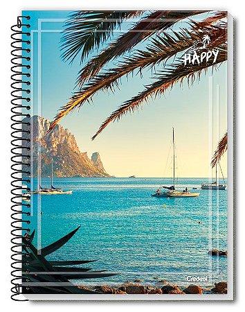 Caderno Credeal 1X1 Happy Barcos 80 folhas