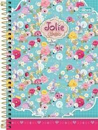 Caderno Tilibra 1X1 Jolie Classic Floral Azul Espiral 96 folhas