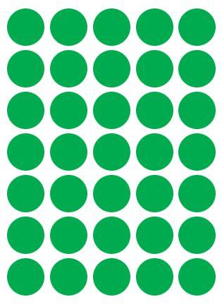 Etiqueta Colacril Bola 19mm Verde 210 Unidades