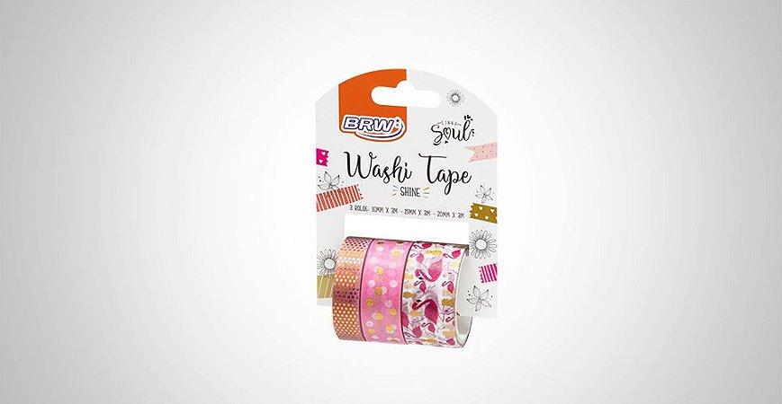 Washi Tape Brw Shine Flamingo Rosa 3 Rolos de 3M