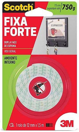 Fita 3M Dupla Face Fixa Forte Espuma 500G 12mmx1.5M