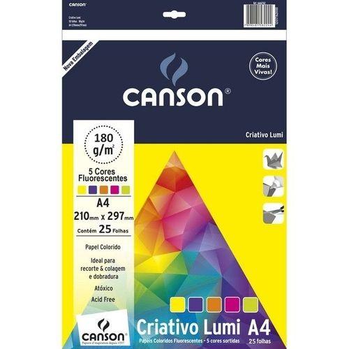 Papel A4 180G Canson Criativo Lumi Cards 5 cores 25 folhas