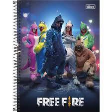 Caderno Tilibra 10X1 Free Fire Holográfica Os Dinos 160fls