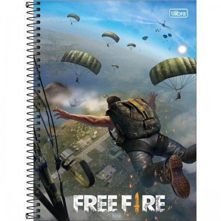 Caderno Tilibra 10X1 Free Fire Para-Quedas 160 folhas