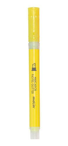 Marca Texto Molin Pastel com Glitter Amarelo