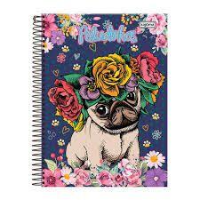 Caderno Kajoma 10X1 Peludinhos Cachorro Coroa de Flores 200 folhas
