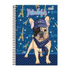 Caderno Kajoma 10X1 Peludinhos Paris Cachorro com Boné 200 folhas
