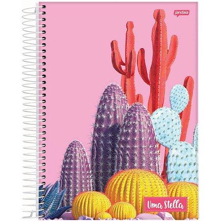 Caderno Jandaia 10x1 Stella Cactos 160 folhas