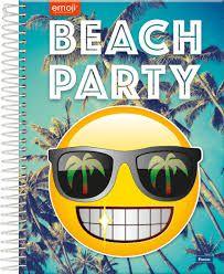 Caderno Foroni 10X1 Emoji Beach Party 200 folhas