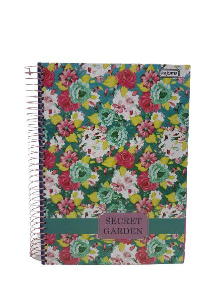 Caderno Kajoma 10X1 Secret Garden Fundo Verde 200 folhas