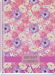 Caderno Kajoma 10X1 Secret Garden Fundo Rosa 200 folhas