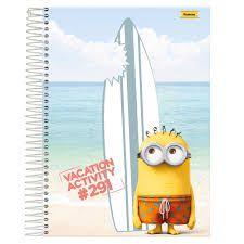 Caderno Foroni 10X1 Minnions na Praia 200 folhas