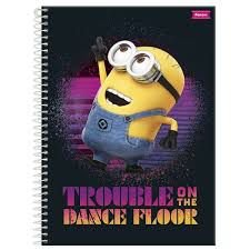 Caderno Foroni 10X1 Minnions Trouble On The Dance 200 folhas