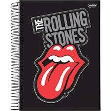 Caderno Jandaia 10X1 Rolling Stones Fundo Preto 200 folhas