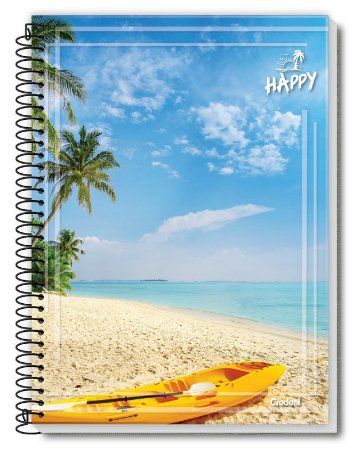Caderno Credeal 10X1 Happy Caiaque na Praia 160 folhas