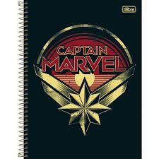 Caderno Tilibra 10X1 Captain Marvel Símbolo 160 folhas
