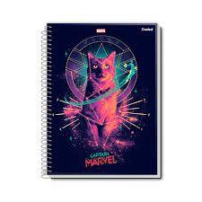 Caderno Credeal 10X1 Captain Marvel Gato 160 folhas