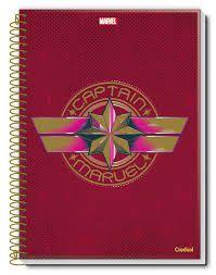 Caderno Credeal 10X1 Captain Marvel Estrela Rosa 160 folhas