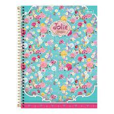 Caderno Tilibra 10X1 Jolie Classic Flores Fundo Verde 200fls