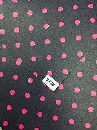 Papel Dupla Face Preto/Bolas Pink VMP 48X66cm