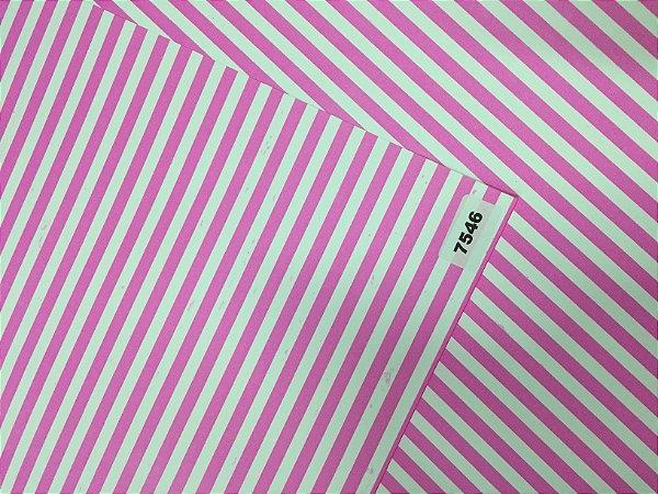 Papel Dupla Face Rosa/Listra VMP 48X66cm
