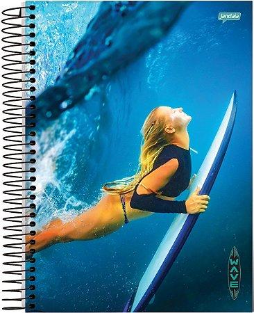 Caderno Jandaia 12X1 Wave Mergulho 240 folhas