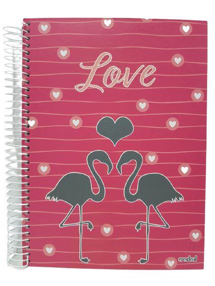 Caderno Credeal 10X1 Love Flamingo 200 folhas
