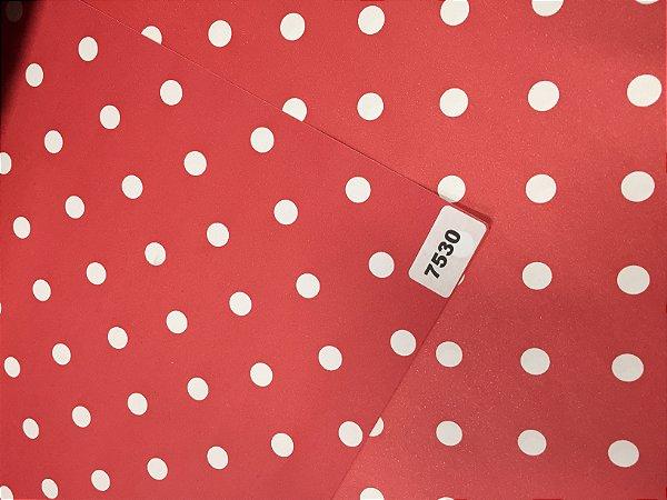 Papel Dupla Face Vermelho/Bolas Brancas VMP 48X66cm