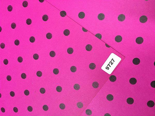 Papel Dupla Face Rosa/Bola Preto VMP 48X66cm