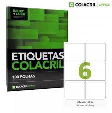 Etiqueta Colacril Ca 4366  6 por Folha 99,1x93,mm 100 folhas