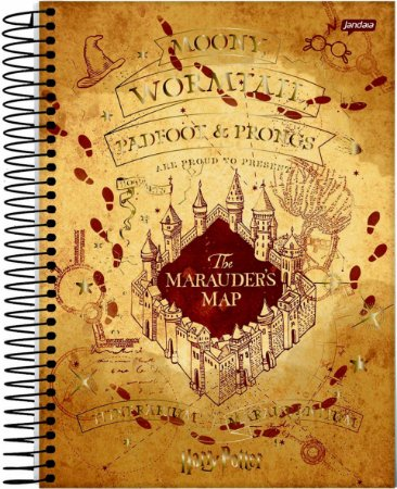 Caderno Jandaia 10X1 Harry Potter College Marauders Map 160 folhas