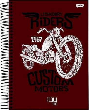 Caderno Jandaia 1X1 Flow Legendary Riders 80 folhas