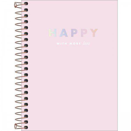 Caderneta Tilibra Happy Rosa Espiral 80 folhas