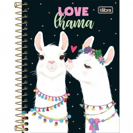 Caderneta Tilibra Hello Love Lhama 80 folhas