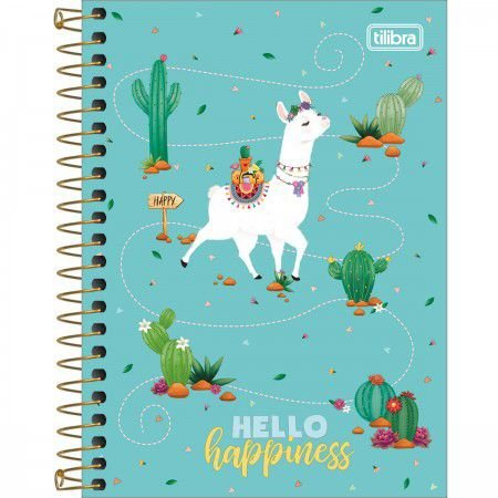 Caderneta Tilibra Hello Happiness Lhama 80 folhas