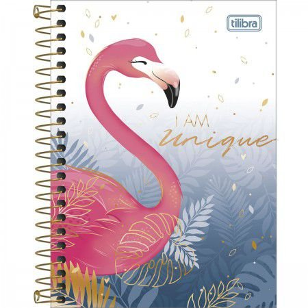Caderneta Tilibra Aloha I am unique Flamingo 80 folhas